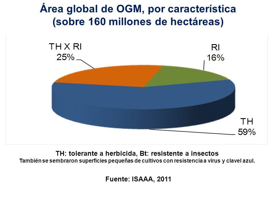 Área global de OGM, por cultivo (como porcentaje de sus respectivas áreas globales) Fuente: ISAAA, 2011 Área global (mi.