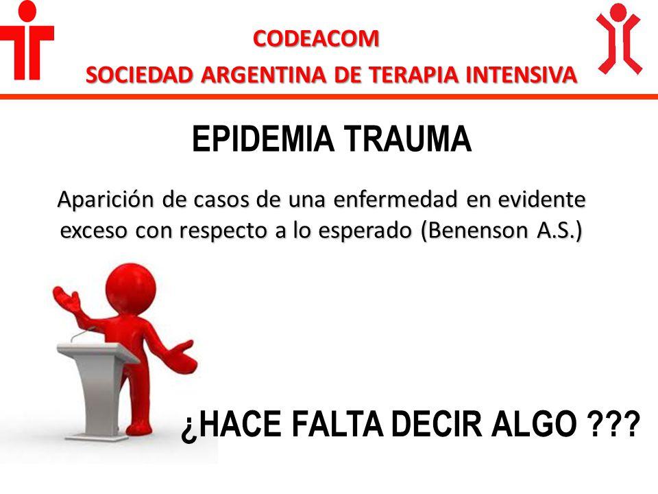 CODEACOM SOCIEDAD ARGENTINA DE TERAPIA INTENSIVA EPIDEMIA TRAUMA Aparición de casos de una enfermedad en evidente exceso con respecto a lo esperado (B