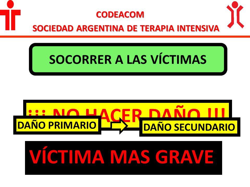 CODEACOM SOCIEDAD ARGENTINA DE TERAPIA INTENSIVA SOCORRER A LAS VÍCTIMAS ¡¡¡ NO HACER DAÑO !!! DAÑO PRIMARIO DAÑO SECUNDARIO VÍCTIMA MAS GRAVE