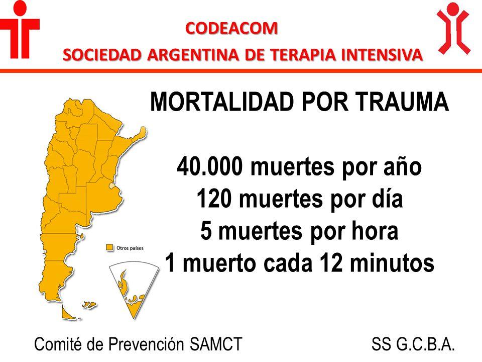 25% son por choque vehículos a motor CODEACOM SOCIEDAD ARGENTINA DE TERAPIA INTENSIVA 10.000 personas por año 30 personas por día 1 persona cada 48 minutos