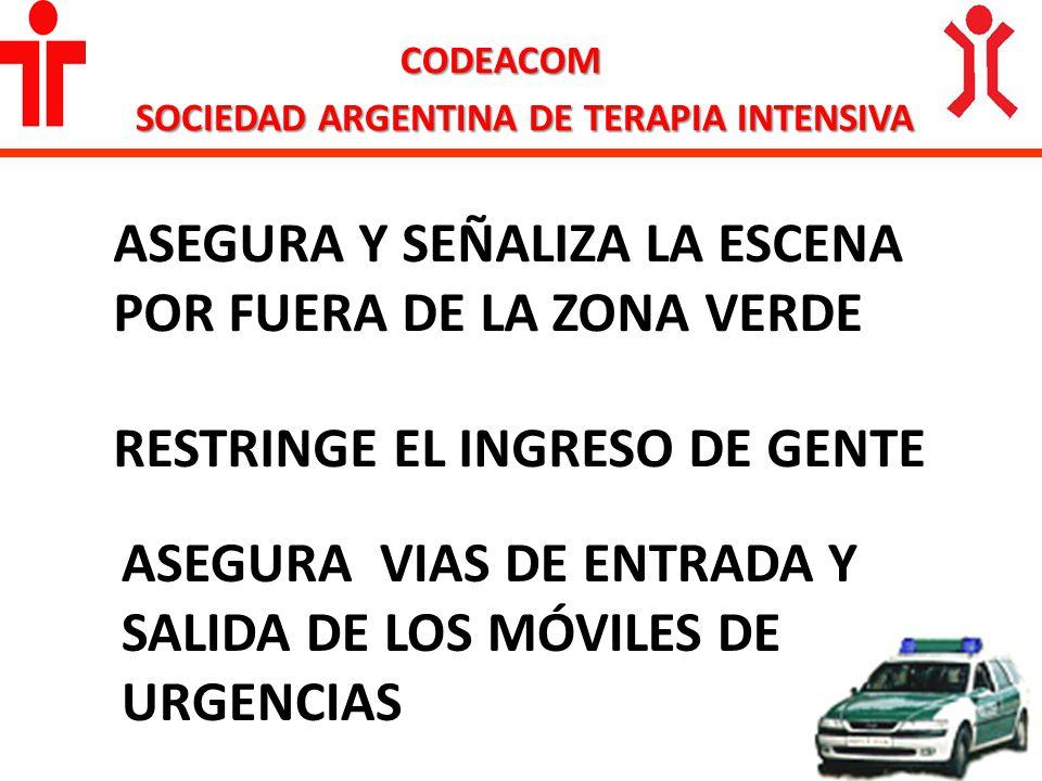CODEACOM SOCIEDAD ARGENTINA DE TERAPIA INTENSIVA ASEGURA Y SEÑALIZA LA ESCENA POR FUERA DE LA ZONA VERDE RESTRINGE EL INGRESO DE GENTE ASEGURA VIAS DE