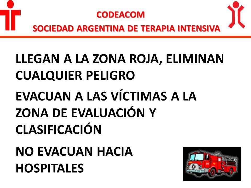 CODEACOM SOCIEDAD ARGENTINA DE TERAPIA INTENSIVA LLEGAN A LA ZONA ROJA, ELIMINAN CUALQUIER PELIGRO NO EVACUAN HACIA HOSPITALES EVACUAN A LAS VÍCTIMAS