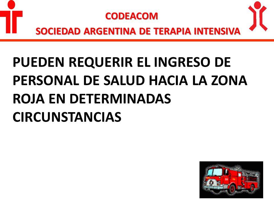 CODEACOM SOCIEDAD ARGENTINA DE TERAPIA INTENSIVA PUEDEN REQUERIR EL INGRESO DE PERSONAL DE SALUD HACIA LA ZONA ROJA EN DETERMINADAS CIRCUNSTANCIAS