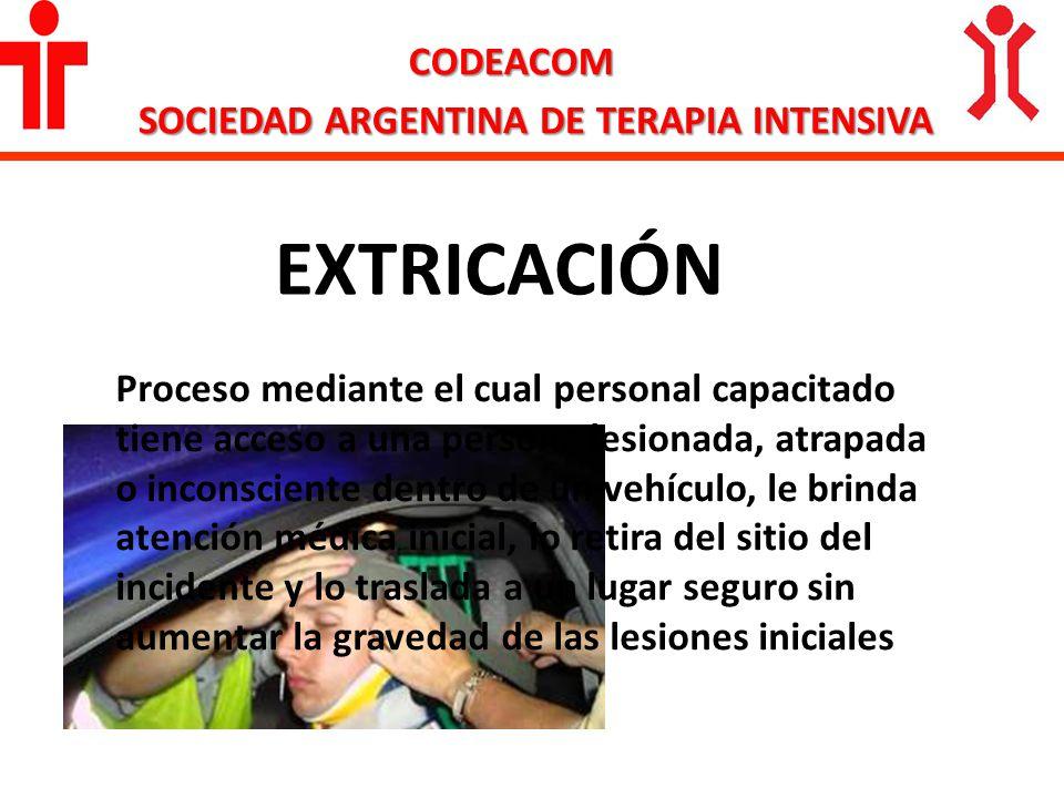 CODEACOM EXTRICACIÓN Proceso mediante el cual personal capacitado tiene acceso a una persona lesionada, atrapada o inconsciente dentro de un vehículo,