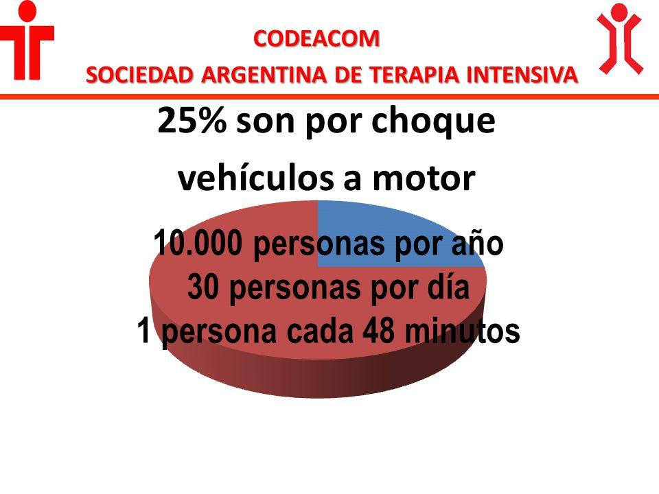 25% son por choque vehículos a motor CODEACOM SOCIEDAD ARGENTINA DE TERAPIA INTENSIVA 10.000 personas por año 30 personas por día 1 persona cada 48 mi