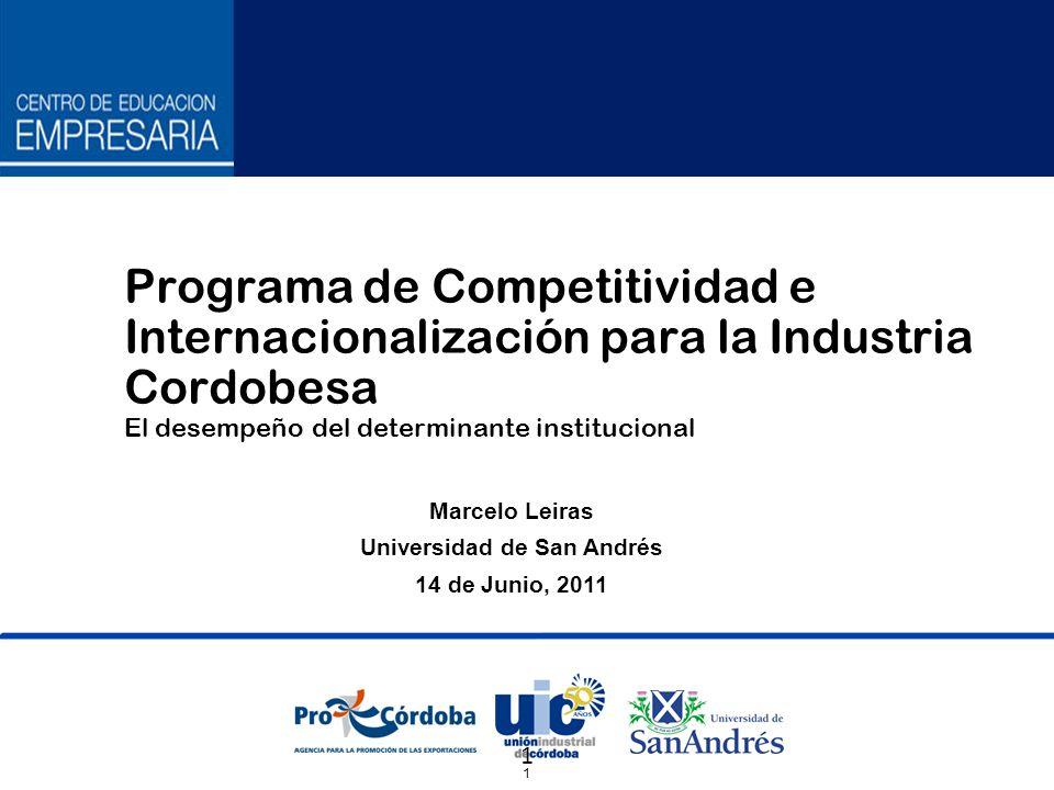 1 1 Marcelo Leiras Universidad de San Andrés 14 de Junio, 2011 Programa de Competitividad e Internacionalización para la Industria Cordobesa El desempeño del determinante institucional