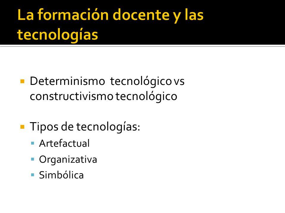 Determinismo tecnológico vs constructivismo tecnológico Tipos de tecnologías: Artefactual Organizativa Simbólica