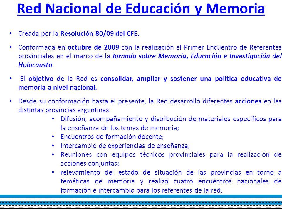 Red Nacional de Educación y Memoria Creada por la Resolución 80/09 del CFE.