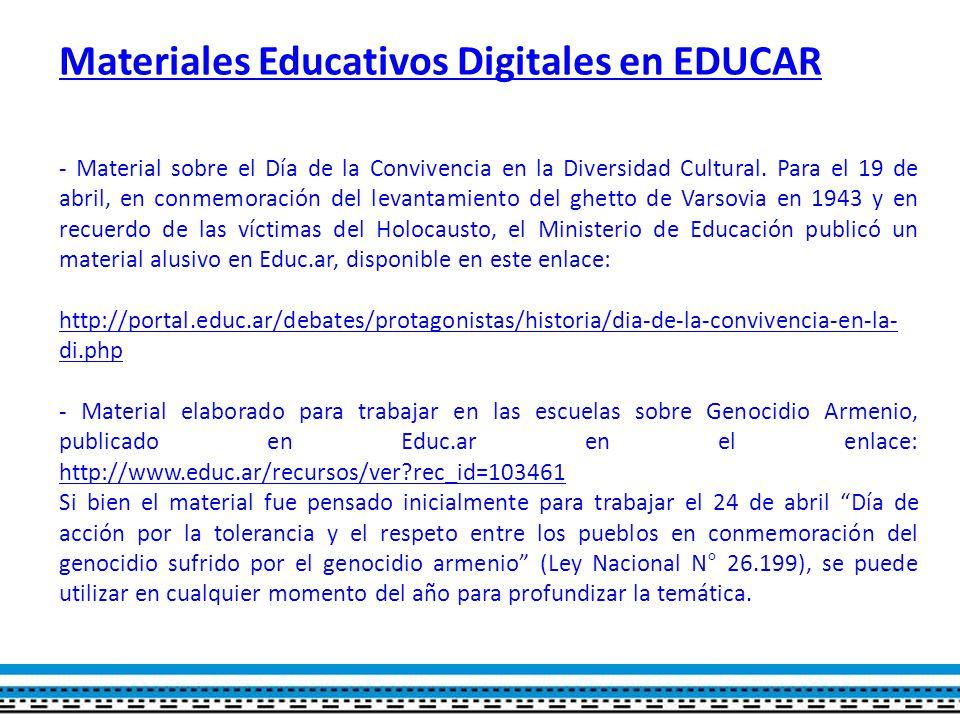 Materiales Educativos Digitales en EDUCAR - Material sobre el Día de la Convivencia en la Diversidad Cultural.