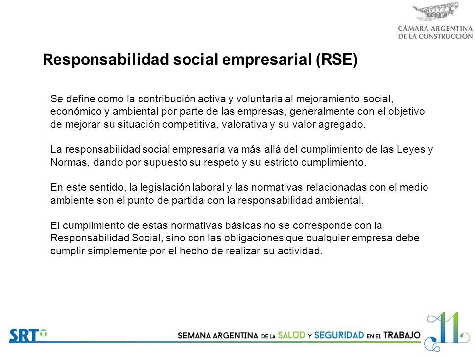 R esponsabilidad social empresarial (RSE) Se define como la contribución activa y voluntaria al mejoramiento social, económico y ambiental por parte de las empresas, generalmente con el objetivo de mejorar su situación competitiva, valorativa y su valor agregado.
