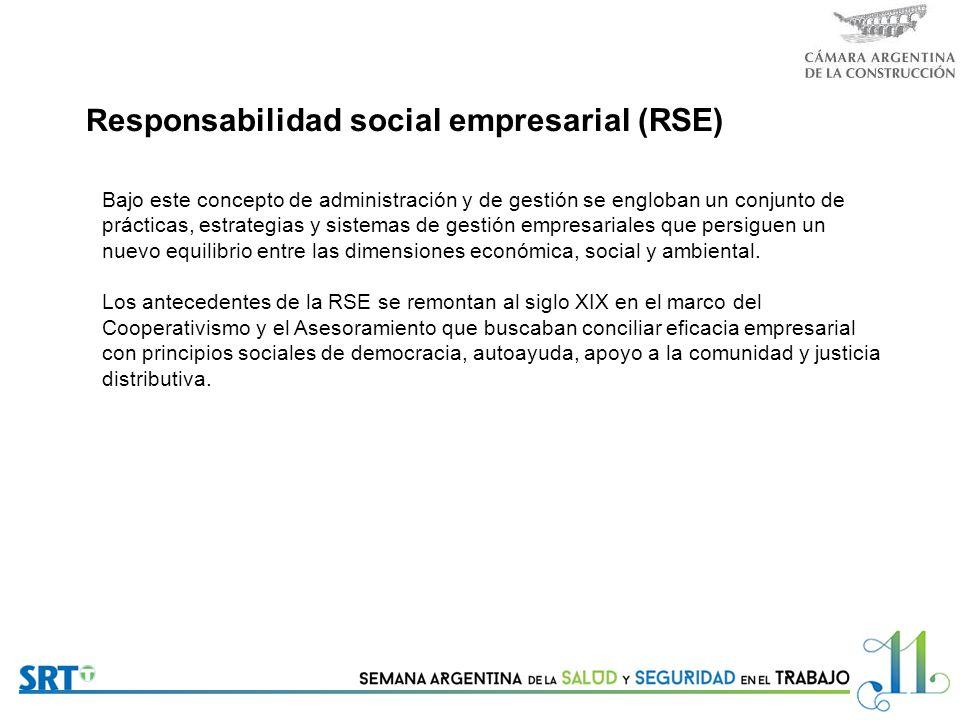 R esponsabilidad social empresarial (RSE) Bajo este concepto de administración y de gestión se engloban un conjunto de prácticas, estrategias y sistemas de gestión empresariales que persiguen un nuevo equilibrio entre las dimensiones económica, social y ambiental.