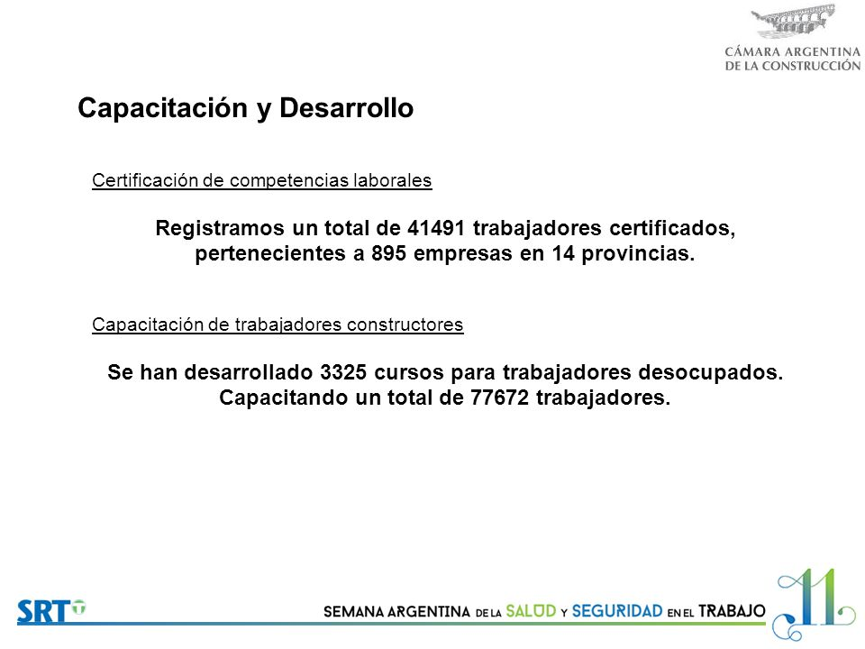 Capacitación y Desarrollo Certificación de competencias laborales Registramos un total de 41491 trabajadores certificados, pertenecientes a 895 empresas en 14 provincias.