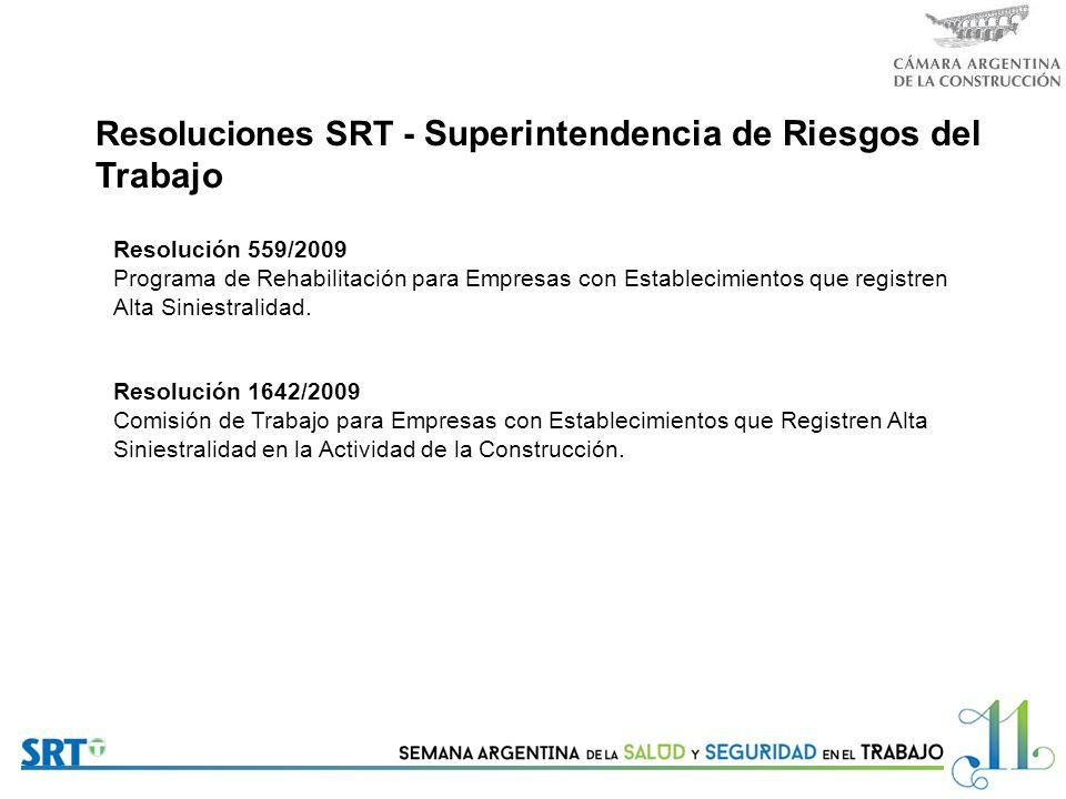 Resoluciones SRT - Superintendencia de Riesgos del Trabajo Resolución 559/2009 Programa de Rehabilitación para Empresas con Establecimientos que registren Alta Siniestralidad.