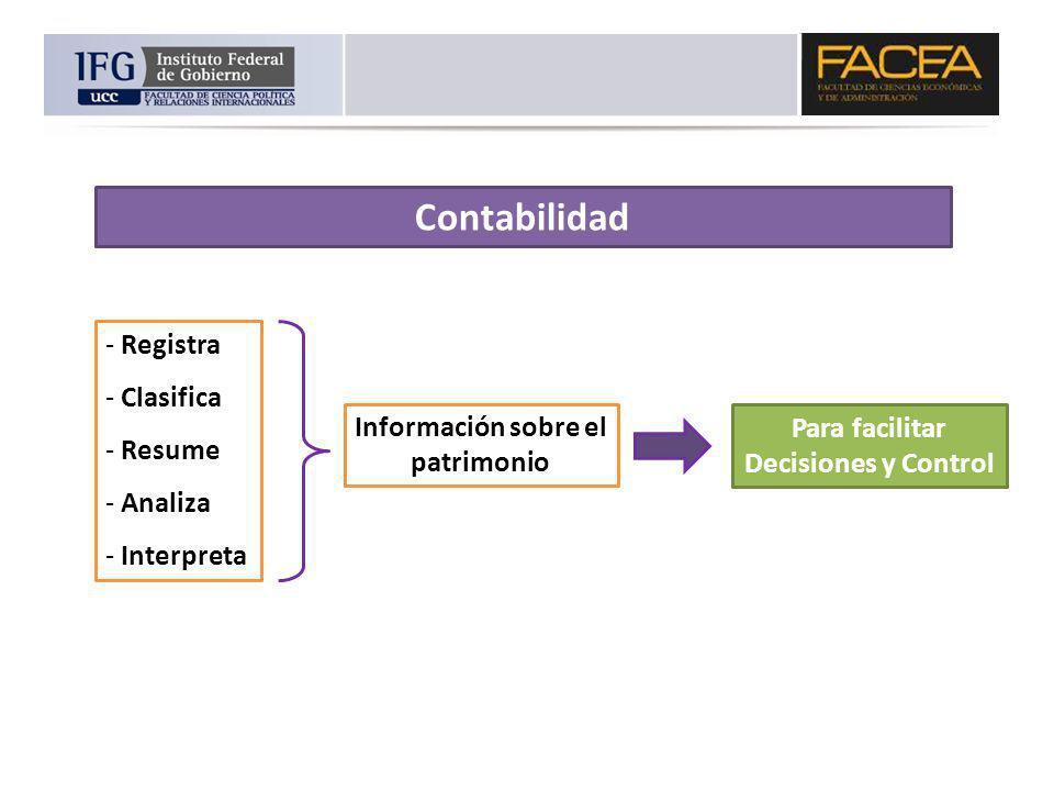 Contabilidad - Registra - Clasifica - Resume - Analiza - Interpreta Información sobre el patrimonio Para facilitar Decisiones y Control