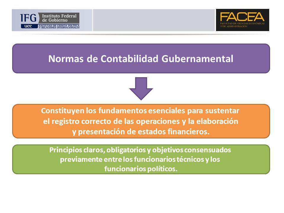 Normas de Contabilidad Gubernamental Constituyen los fundamentos esenciales para sustentar el registro correcto de las operaciones y la elaboración y