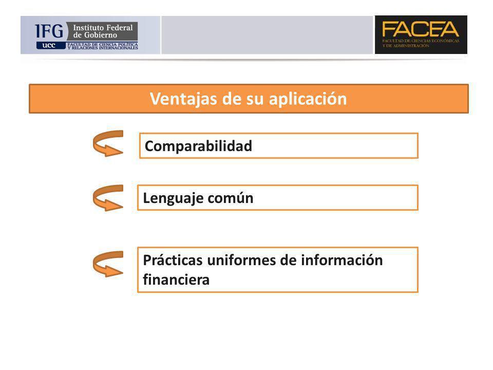Ventajas de su aplicación Comparabilidad Lenguaje común Prácticas uniformes de información financiera