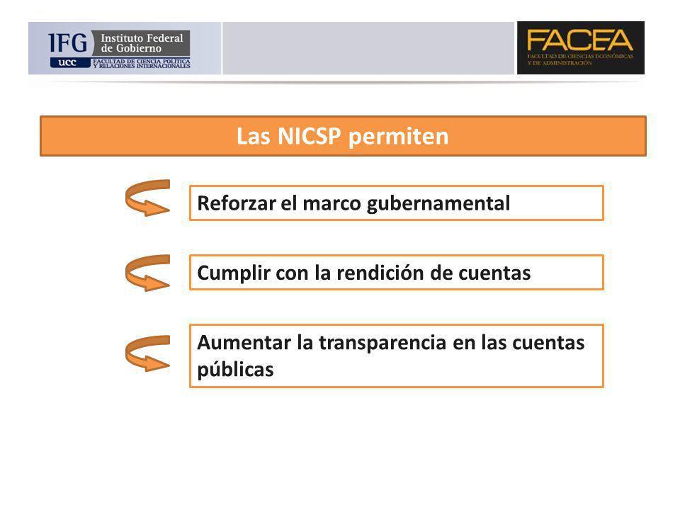 Las NICSP permiten Reforzar el marco gubernamental Cumplir con la rendición de cuentas Aumentar la transparencia en las cuentas públicas
