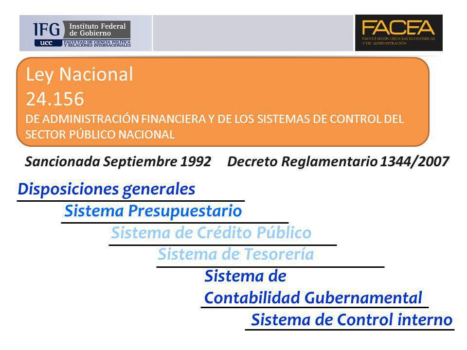 Ley Nacional 24.156 DE ADMINISTRACIÓN FINANCIERA Y DE LOS SISTEMAS DE CONTROL DEL SECTOR PÚBLICO NACIONAL Disposiciones generales Sistema Presupuestar