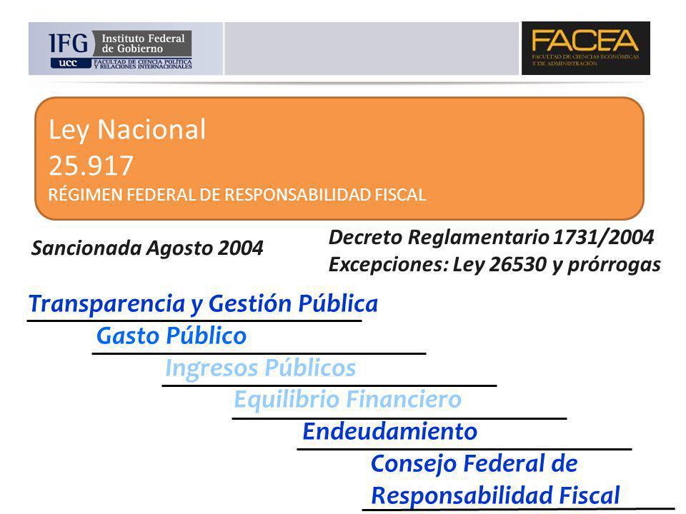Ley Nacional 25.917 RÉGIMEN FEDERAL DE RESPONSABILIDAD FISCAL Transparencia y Gestión Pública Gasto Público Ingresos Públicos Equilibrio Financiero En