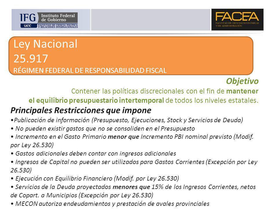 Ley Nacional 25.917 RÉGIMEN FEDERAL DE RESPONSABILIDAD FISCAL Objetivo Contener las políticas discrecionales con el fin de mantener el equilibrio pres