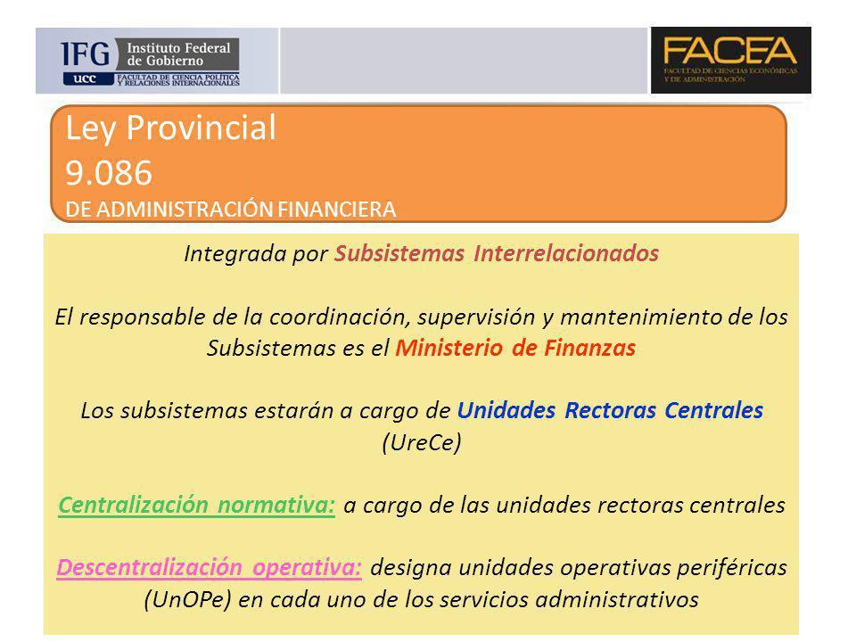 Ley Provincial 9.086 DE ADMINISTRACIÓN FINANCIERA Integrada por Subsistemas Interrelacionados El responsable de la coordinación, supervisión y manteni