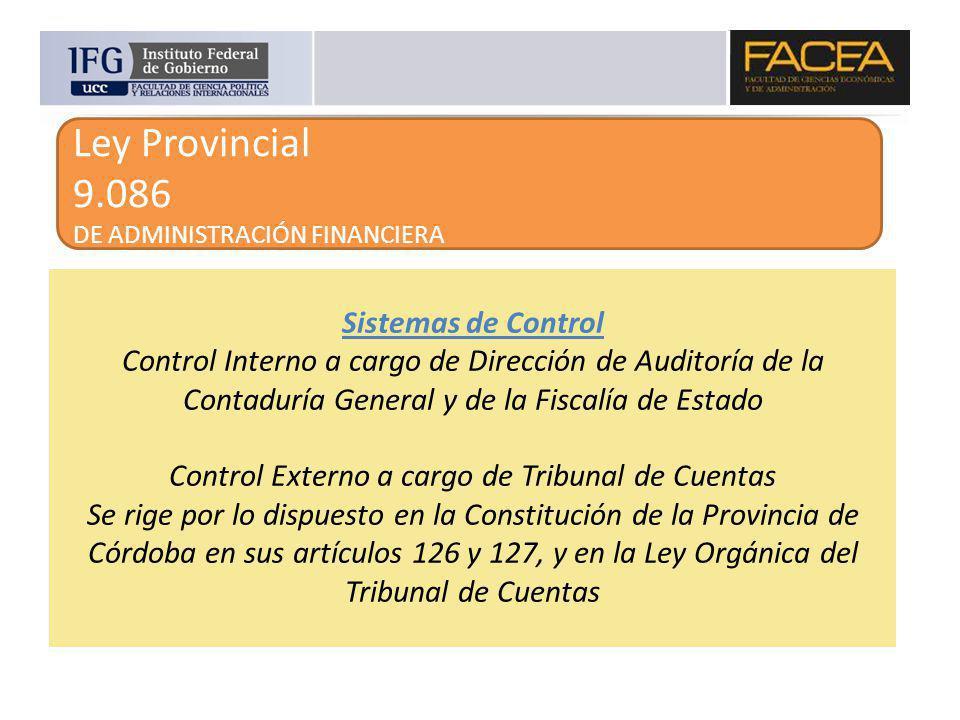Ley Provincial 9.086 DE ADMINISTRACIÓN FINANCIERA Sistemas de Control Control Interno a cargo de Dirección de Auditoría de la Contaduría General y de