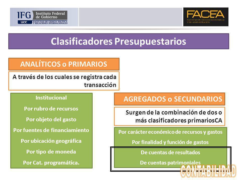 ANALÍTICOS o PRIMARIOS AGREGADOS o SECUNDARIOS A través de los cuales se registra cada transacción Surgen de la combinación de dos o más clasificadore