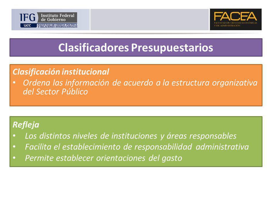 Clasificación institucional Ordena las información de acuerdo a la estructura organizativa del Sector Público Refleja Los distintos niveles de institu