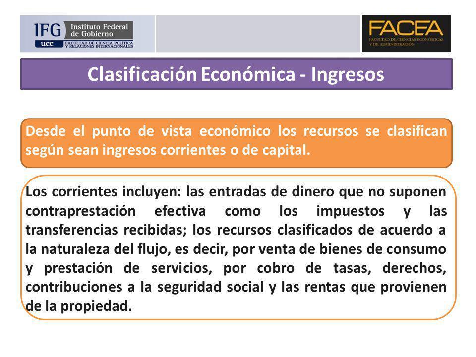 Desde el punto de vista económico los recursos se clasifican según sean ingresos corrientes o de capital. Los corrientes incluyen: las entradas de din