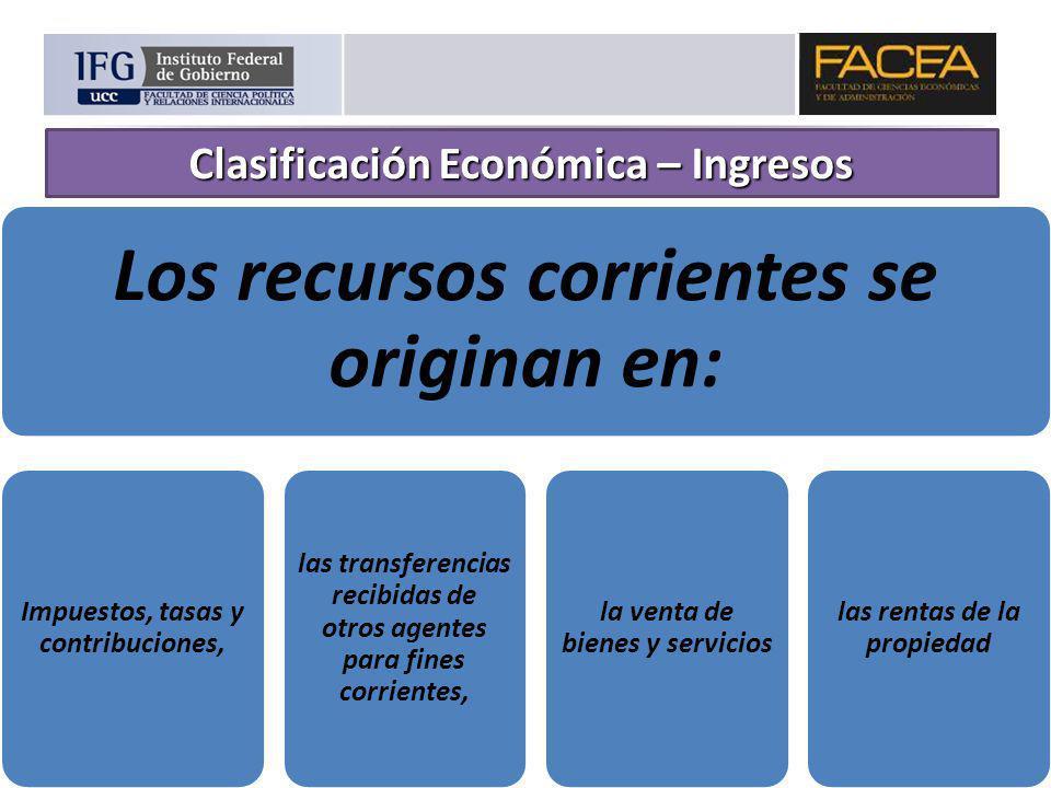 Los recursos corrientes se originan en: Impuestos, tasas y contribuciones, las transferencias recibidas de otros agentes para fines corrientes, la ven
