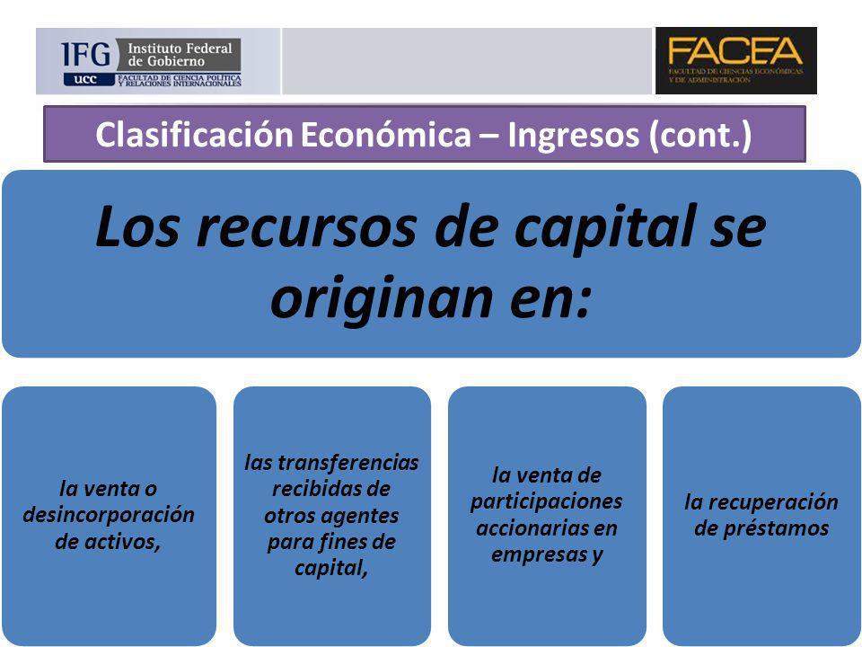 Los recursos de capital se originan en: la venta o desincorporación de activos, las transferencias recibidas de otros agentes para fines de capital, l