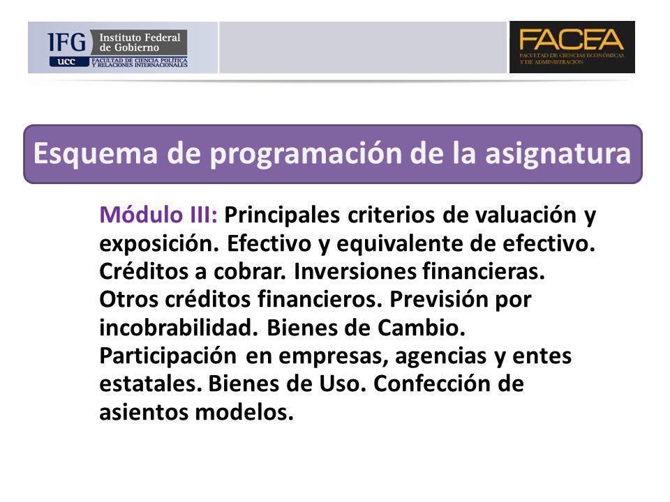 Módulo III: Principales criterios de valuación y exposición. Efectivo y equivalente de efectivo. Créditos a cobrar. Inversiones financieras. Otros cré