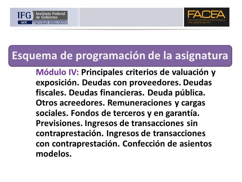 Módulo IV: Principales criterios de valuación y exposición. Deudas con proveedores. Deudas fiscales. Deudas financieras. Deuda pública. Otros acreedor