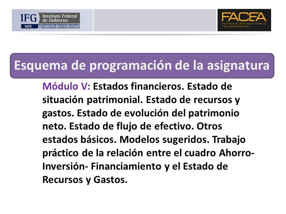 Módulo V: Estados financieros. Estado de situación patrimonial. Estado de recursos y gastos. Estado de evolución del patrimonio neto. Estado de flujo