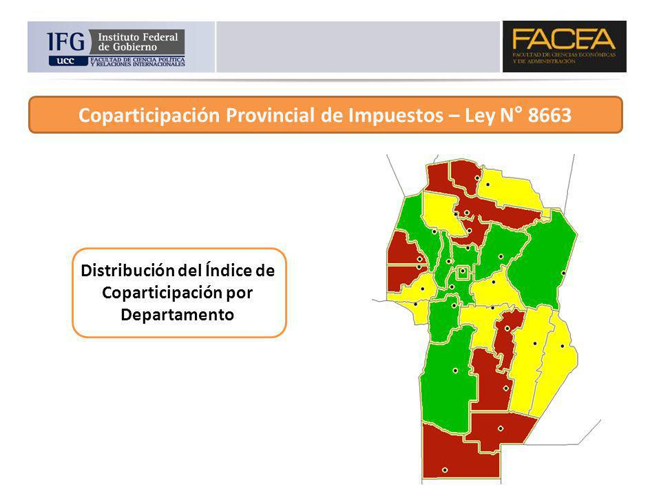 Coparticipación Provincial de Impuestos – Ley N° 8663 Distribución del Índice de Coparticipación por Departamento