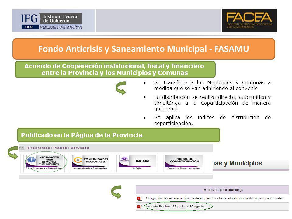Acuerdo de Cooperación institucional, fiscal y financiero entre la Provincia y los Municipios y Comunas Se transfiere a los Municipios y Comunas a med