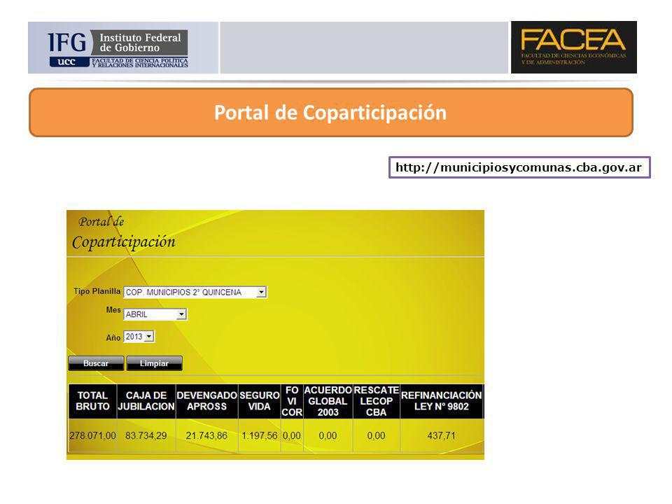 http://municipiosycomunas.cba.gov.ar Portal de Coparticipación