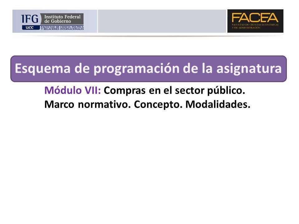 Módulo VII: Compras en el sector público. Marco normativo. Concepto. Modalidades. Esquema de programación de la asignatura
