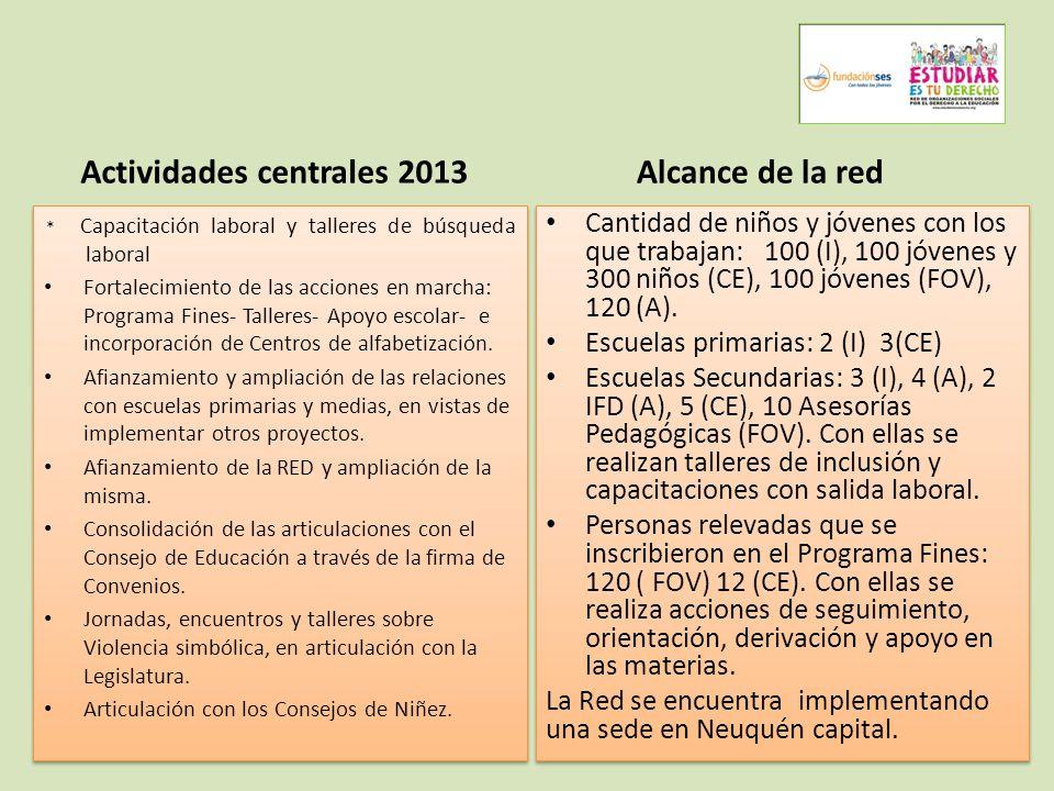 Actividades centrales 2013 * Capacitación laboral y talleres de búsqueda laboral Fortalecimiento de las acciones en marcha: Programa Fines- Talleres- Apoyo escolar- e incorporación de Centros de alfabetización.