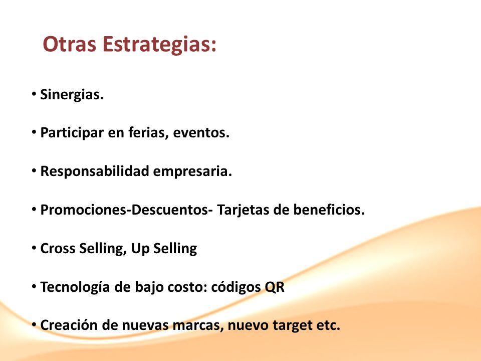 Otras Estrategias: Sinergias. Participar en ferias, eventos. Responsabilidad empresaria. Promociones-Descuentos- Tarjetas de beneficios. Cross Selling