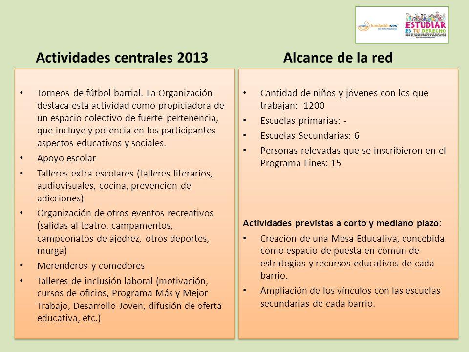 Actividades centrales 2013 Torneos de fútbol barrial.