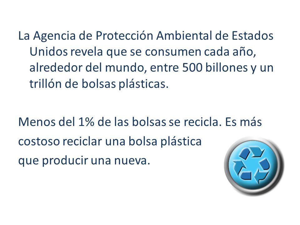 La Agencia de Protección Ambiental de Estados Unidos revela que se consumen cada año, alrededor del mundo, entre 500 billones y un trillón de bolsas p
