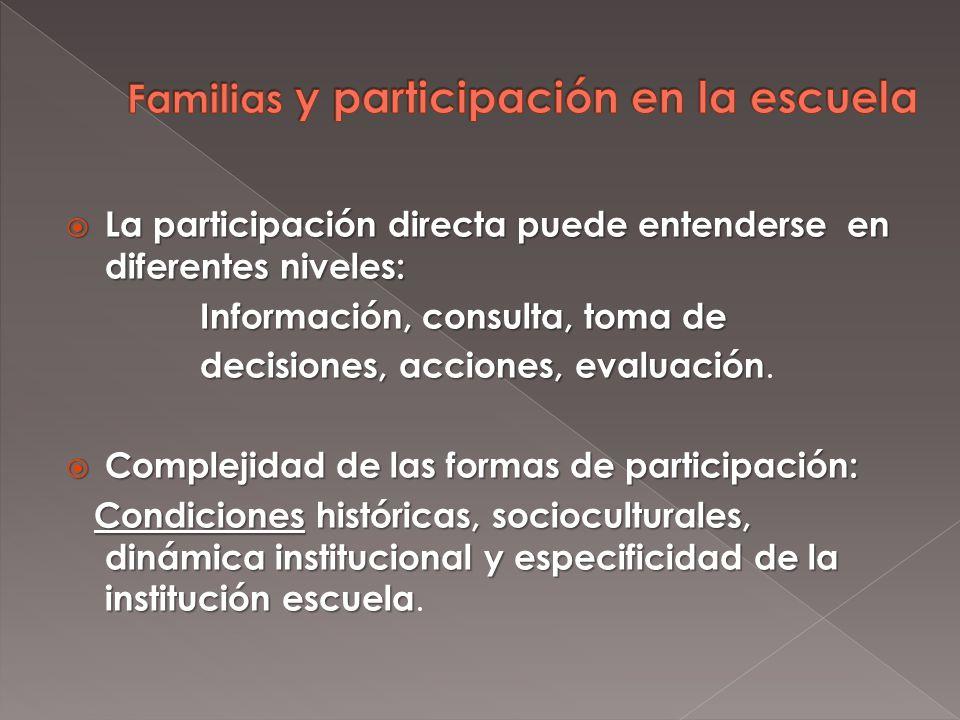 La participación directa puede entenderse en diferentes niveles: La participación directa puede entenderse en diferentes niveles: Información, consulta, toma de Información, consulta, toma de decisiones, acciones, evaluación decisiones, acciones, evaluación.