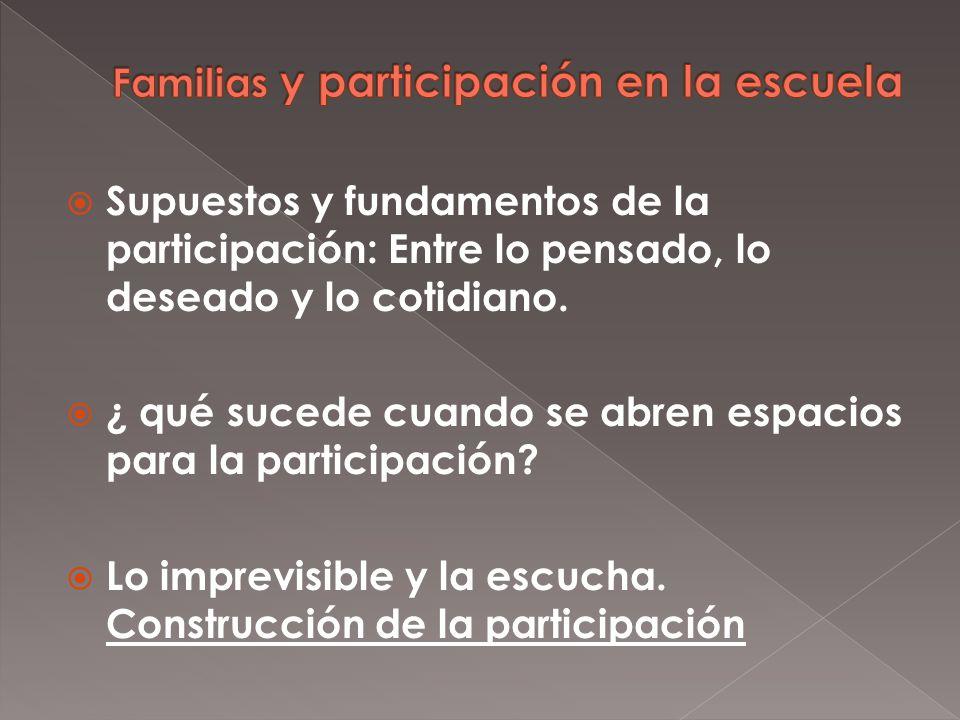Supuestos y fundamentos de la participación: Entre lo pensado, lo deseado y lo cotidiano.