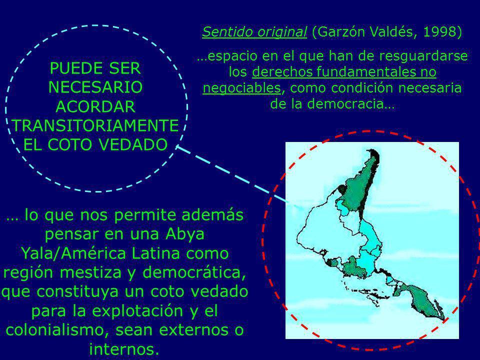 PUEDE SER NECESARIO ACORDAR TRANSITORIAMENTE EL COTO VEDADO Sentido original (Garzón Valdés, 1998) …espacio en el que han de resguardarse los derechos