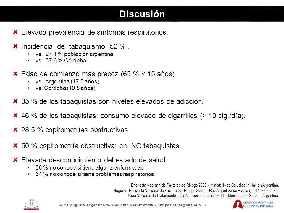 Discusión Elevada prevalencia de síntomas respiratorios.