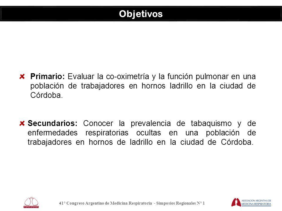 Objetivos Primario: Evaluar la co-oximetría y la función pulmonar en una población de trabajadores en hornos ladrillo en la ciudad de Córdoba.