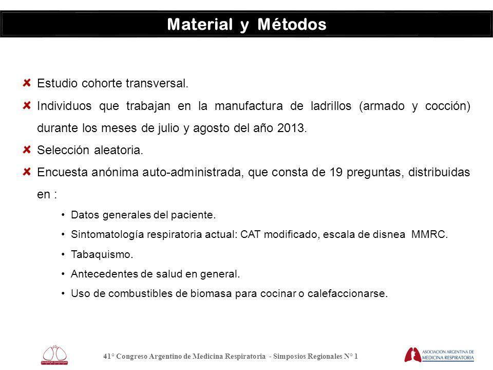 Material y Métodos Estudio cohorte transversal.