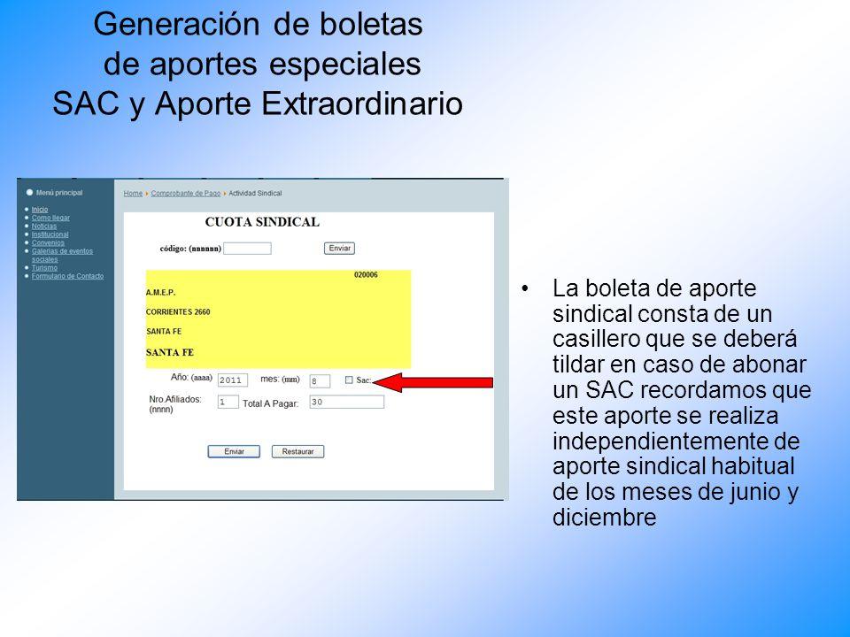 Generacion de boletas de aportes Aparecerá en pantalla el comprobante listo para ser impreso, con los ajustes correspondientes en caso de encontrarse