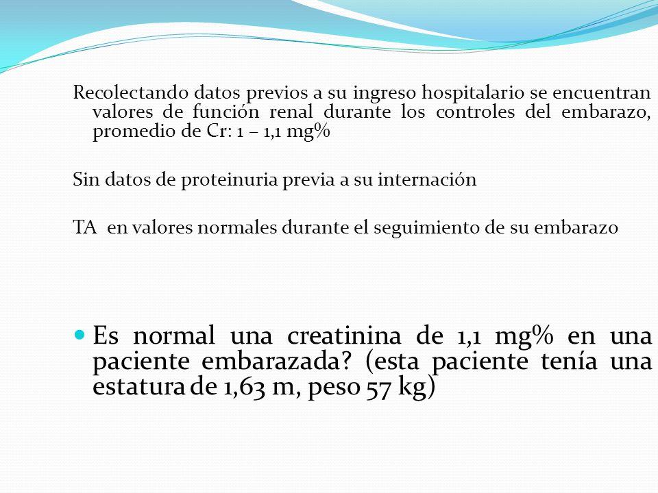 Recolectando datos previos a su ingreso hospitalario se encuentran valores de función renal durante los controles del embarazo, promedio de Cr: 1 – 1,